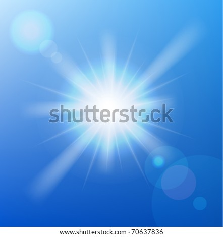 Vector sun on blue sky with lenses flare. - stock vector