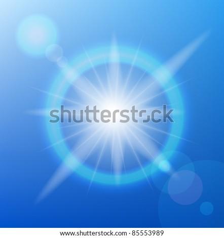 Vector sun on blue sky with lenses flare. - stock vector