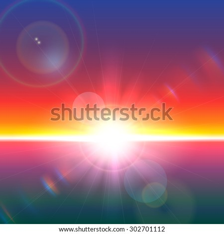 Vector sun over horizon with lens flares and refraction - stock vector