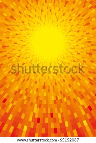Vector sun shine orange background - stock vector