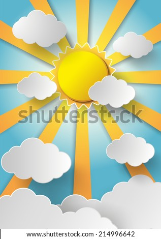 Vector sun with clouds background.paper cut style.