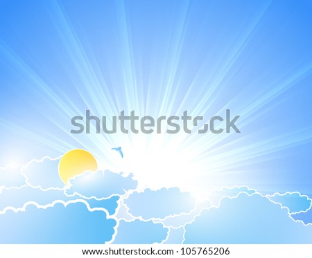 Vector sunburst background with clouds - stock vector