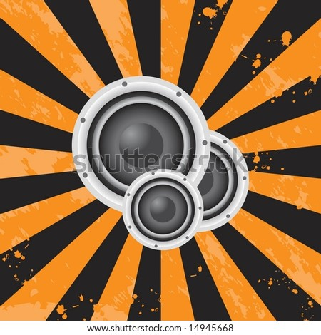 Vector sunburst background with stereo speakers / audio and music theme with grunge effects - stock vector
