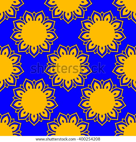 Vector Sunflower Pattern Blue And Yellow Bohemian Texture Boho Decorative Ornament Mandala Floral