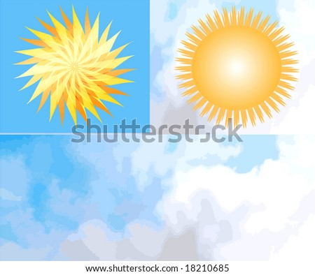 Vector Suns And Clouds