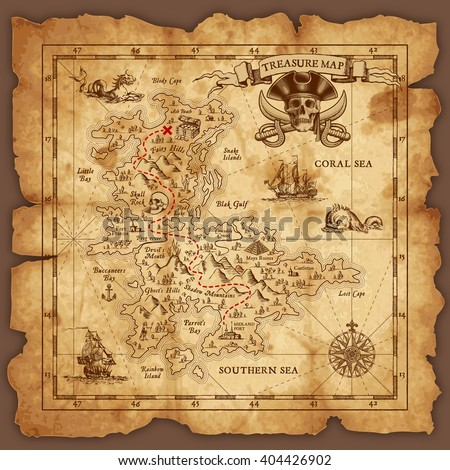 Vector super detailed Pirate Treasure map on a ruined old Parchment. All elements are organized with layers. - stock vector