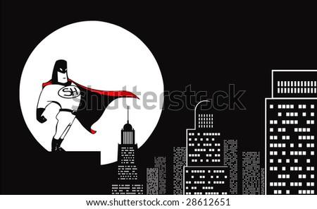 vector superhero and the moon - stock vector
