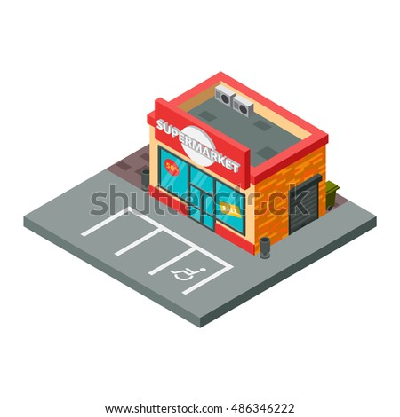 Vector supermarket isometric building isolated