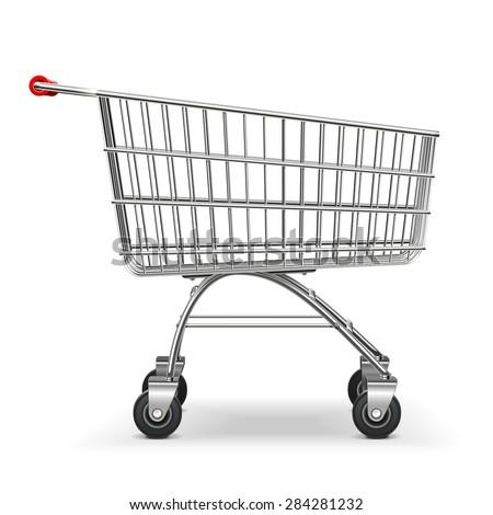 Vector Supermarket Trolley - stock vector