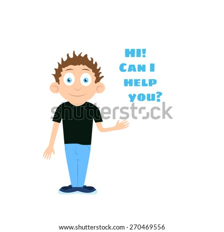 Vector support man boy cartoon character offering help with text HI Can i help you over his head isolated on white background - stock vector