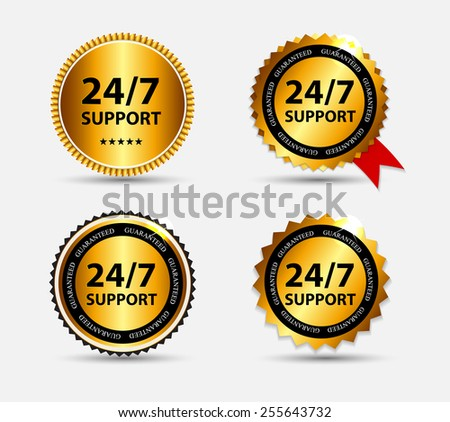 Vector 24/7 SUPPORT Sign, Label Template - stock vector