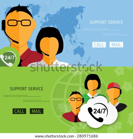 Vector support web flat background. Concepts for web banners and promotional materials. - stock vector