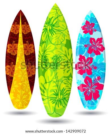 Vector surf boards ( hibiscus flower Design ) - stock vector
