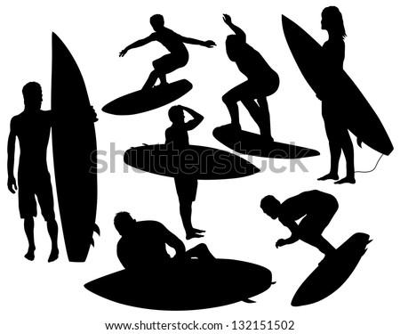 Vector surfer silhouette - stock vector