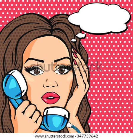 Vector surprised pop art comic woman face, shocked woman on phone with talk bubble illustration - stock vector