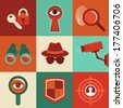Vector surveillance and control concepts - trendy icons in flat style - stock photo