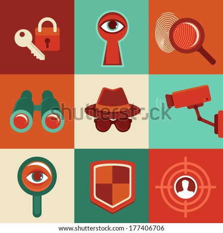 Vector surveillance and control concepts - trendy icons in flat style - stock vector