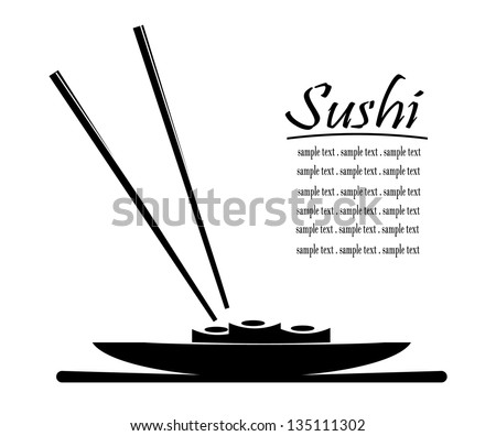 Vector sushi menu design with sample text - stock vector