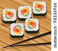 vector sushi on bamboo mat and chopsticks - stock vector