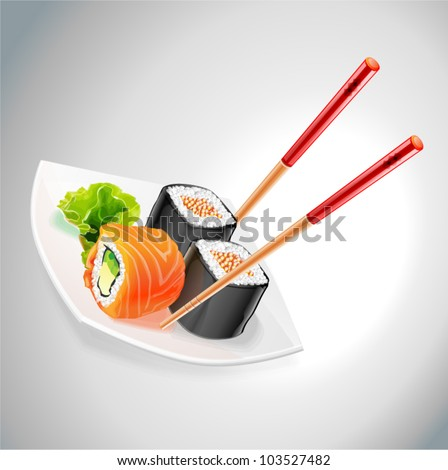 vector sushi on the plate and chopsticks - stock vector
