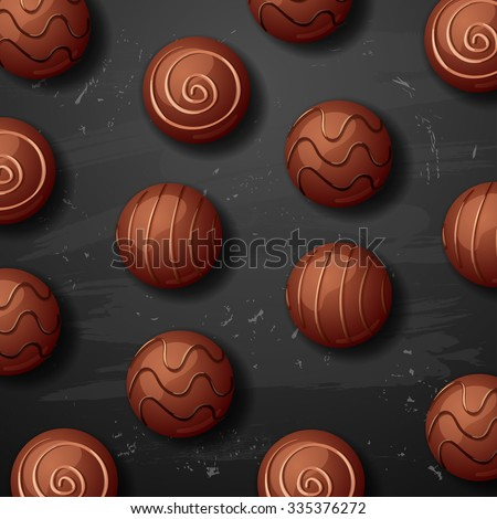 vector sweet chocolate candy background. chocolate candies on black background.  - stock vector