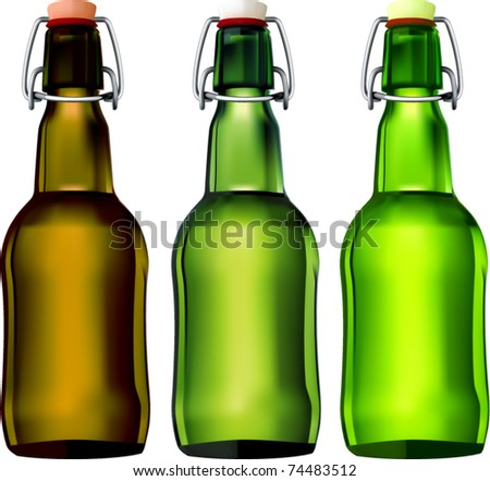 vector swing top beer bottles - stock vector
