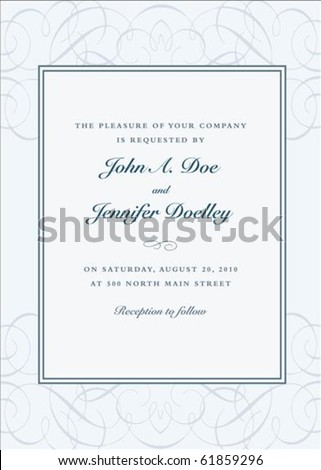 Vector swirl background and frame with sample text. Perfect as invitation or announcement. Pattern is included as seamless swatch. All pieces are separate. Easy to change colors. - stock vector