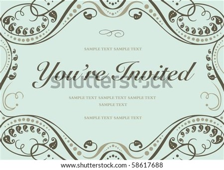 Vector swirl floral frame with sample text. Perfect as invitation or announcement. All pieces are separate. Easy to change colors. - stock vector