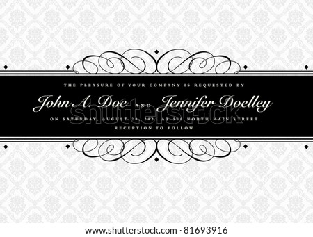Vector Swirl Ornament Banner and Seamless Pattern. Easy to edit. Perfect for invitations or announcements. - stock vector
