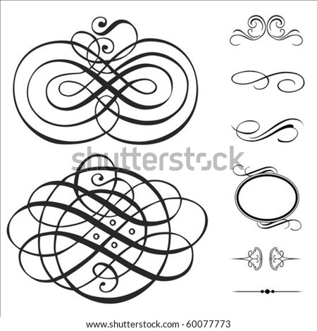 Vector swirl ornament set. Pieces are separate and easy to edit. - stock vector