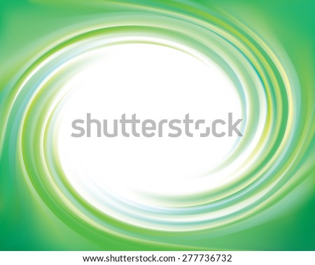 Vector swirling backdrop. Beautiful spiral liquid surface light turquoise color with space for text in glowing white center in middle of funnel  - stock vector