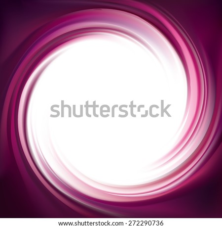 Vector swirling backdrop. Spiral liquid lilac surface with space for text in glowing white center in middle of funnel. Appetizing yummy juice vinous fruits: grape, cherry, mulberry - stock vector
