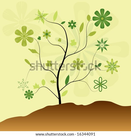 Vector swirly tree with large green flowers and leaves - stock vector