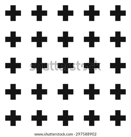 Vector swiss cross pattern, geometric monochrome background - stock vector