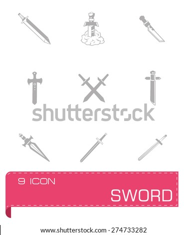 Vector Sword icon set on grey background - stock vector