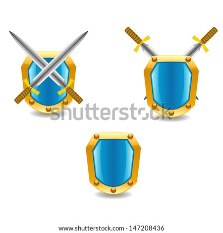Vector swords and shields - stock vector