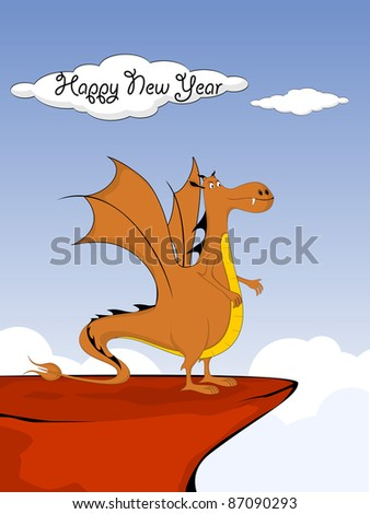 vector 2012 symbol dragon theme for new year - stock vector