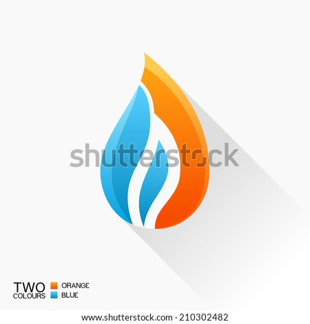 Vector symbol fire. Blue and orange flame glass icon with shadow isolated logo - stock vector