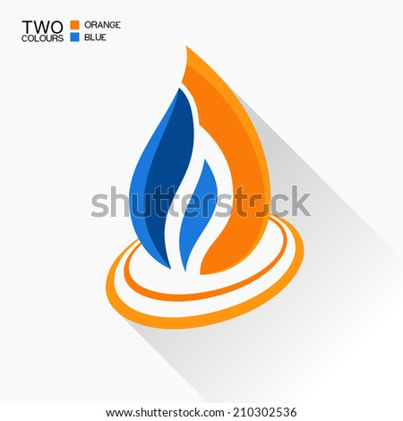 Vector symbol fire. Dark blue and orange flame glass icon with long shadow isolated - stock vector