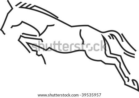 vector symbol jumping horse - stock vector