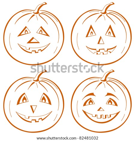 Vector, symbol of a holiday of Halloween: a pumpkin Jack O Lantern, set symbolical pictograms on white - stock vector