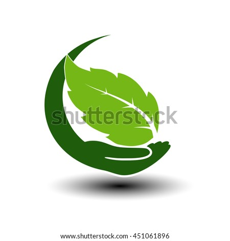 Vector symbol of green energy.  Circular natural element with leaf and hand. Nature icon.