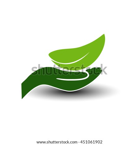 Vector symbol of green energy.  Natural element with leaf and hand. Nature icon.