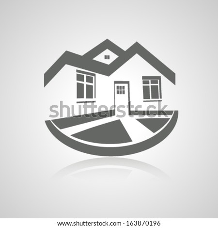 Vector symbol of home, house icon, realty silhouette, real estate - stock vector