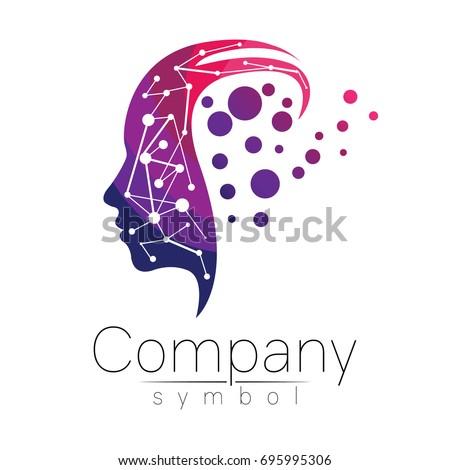 Modern Head Logo Psychology Profile Human Stock Vector