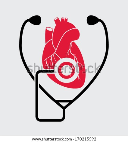 vector symbol of medical check of heart health and heartbeat with stethoscope - stock vector