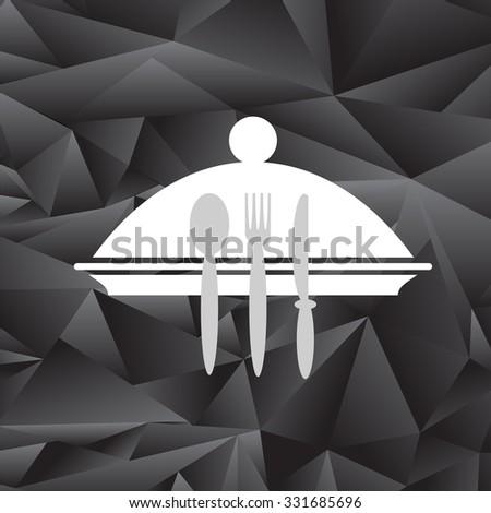 Vector Symbol of Restaurant Isolated on Black Polygonal Background. Menu Book Icon Fork, Spoon, Knife, Plate. Cafe Logo Design. Restaurant Menu.  - stock vector