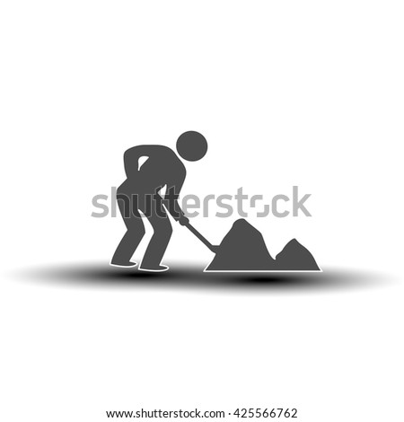 Vector symbol of under construction. Silhouette of man - worker. Icon of laborer throws shovel.  - stock vector