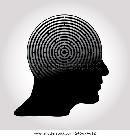 vector symbolic abstract illustration with maze brain - stock vector