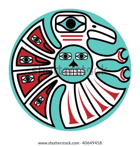 vector symbolic bird design in pacific northwest native style.